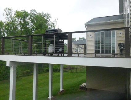 hand built vinyl deck with railing in pa