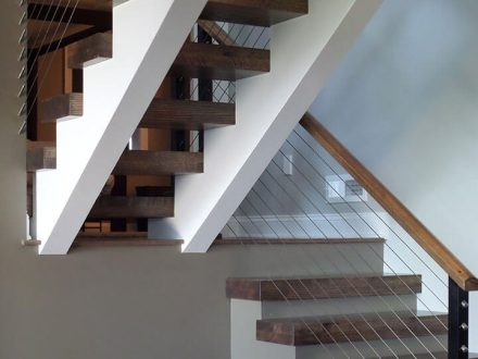 custom modern wooden living room home staircase renovation