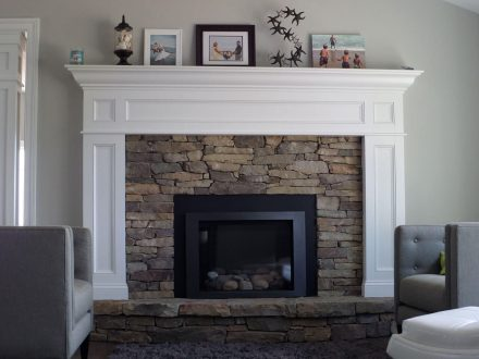 Stone Fireplace Addition in Living Room