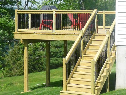 Wood Deck with Iron Railings