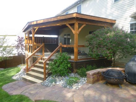rustic wooden deck with roof