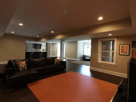 Finished Basement with Large Open Area and Bar