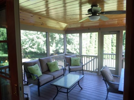 Inside of Screened-In Deck with Vinyl Railing