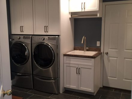 laundry room renovation with built in appliances and small sink