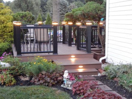 Custom Wooden Deck with Lights and Railings