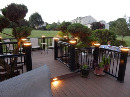New Deck with LED Post Cap Lighting