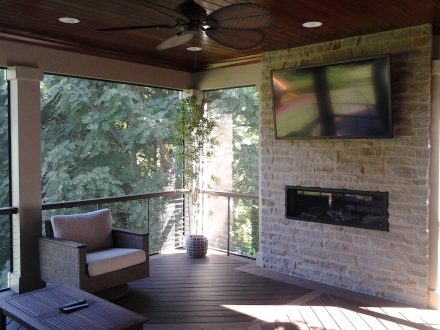 Screened-In-Porch with a Fireplace