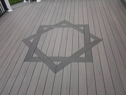 wooden deck with design