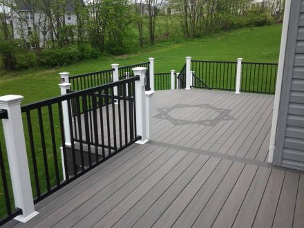wooden deck with fancy pattern